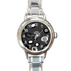 Gray abstract pattern Round Italian Charm Watch