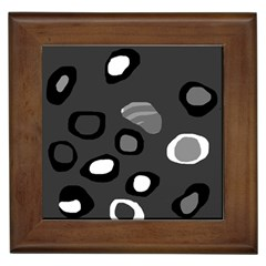 Gray abstract pattern Framed Tiles