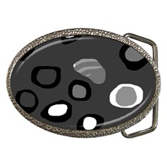 Gray abstract pattern Belt Buckles