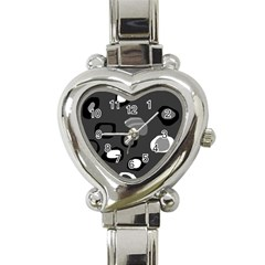 Gray abstract pattern Heart Italian Charm Watch