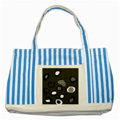 Gray abstract pattern Striped Blue Tote Bag