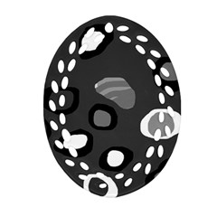 Gray abstract pattern Oval Filigree Ornament (2-Side)