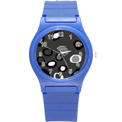 Gray abstract pattern Round Plastic Sport Watch (S)