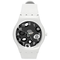 Gray abstract pattern Round Plastic Sport Watch (M)