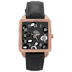 Gray abstract pattern Rose Gold Leather Watch