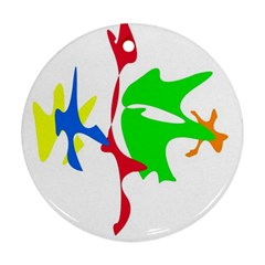 Colorful amoeba abstraction Ornament (Round)