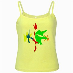 Colorful amoeba abstraction Yellow Spaghetti Tank