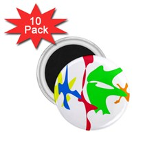 Colorful amoeba abstraction 1.75  Magnets (10 pack)