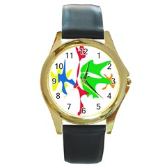 Colorful amoeba abstraction Round Gold Metal Watch