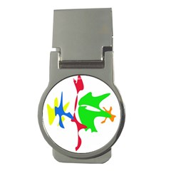 Colorful amoeba abstraction Money Clips (Round)