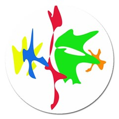 Colorful amoeba abstraction Magnet 5  (Round)