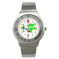 Colorful amoeba abstraction Stainless Steel Watch
