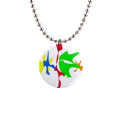 Colorful amoeba abstraction Button Necklaces