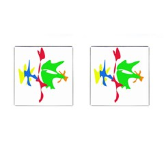 Colorful amoeba abstraction Cufflinks (Square)