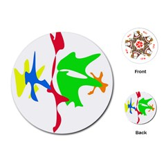 Colorful amoeba abstraction Playing Cards (Round)