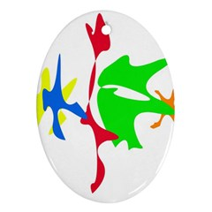 Colorful amoeba abstraction Oval Ornament (Two Sides)