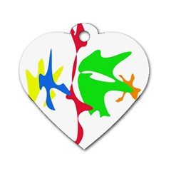 Colorful amoeba abstraction Dog Tag Heart (One Side)