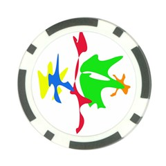 Colorful amoeba abstraction Poker Chip Card Guards
