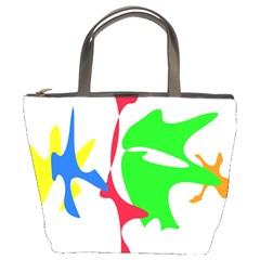 Colorful amoeba abstraction Bucket Bags