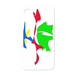 Colorful amoeba abstraction Apple iPhone 4 Case (White)