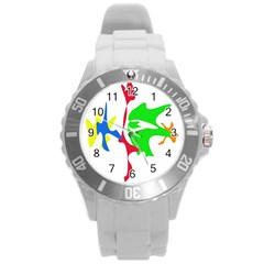 Colorful amoeba abstraction Round Plastic Sport Watch (L)