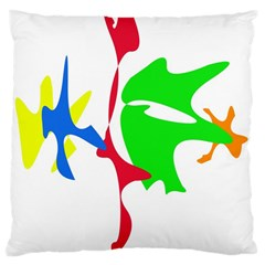 Colorful amoeba abstraction Large Cushion Case (Two Sides)