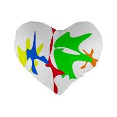 Colorful amoeba abstraction Standard 16  Premium Heart Shape Cushions