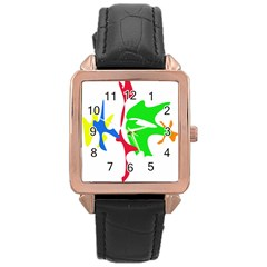 Colorful amoeba abstraction Rose Gold Leather Watch