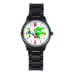 Colorful amoeba abstraction Stainless Steel Round Watch
