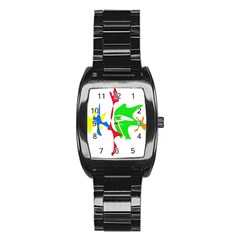 Colorful amoeba abstraction Stainless Steel Barrel Watch