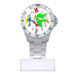 Colorful amoeba abstraction Plastic Nurses Watch
