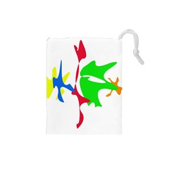 Colorful amoeba abstraction Drawstring Pouches (Small)