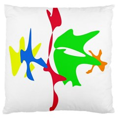 Colorful amoeba abstraction Large Flano Cushion Case (Two Sides)
