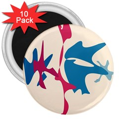 Decorative amoeba abstraction 3  Magnets (10 pack)