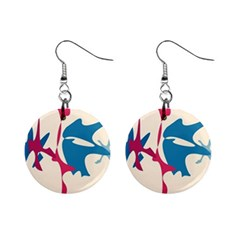 Decorative amoeba abstraction Mini Button Earrings