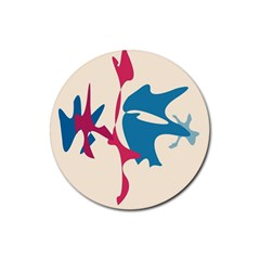 Decorative amoeba abstraction Rubber Round Coaster (4 pack)