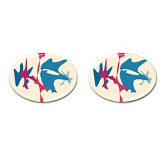 Decorative amoeba abstraction Cufflinks (Oval)