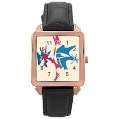 Decorative amoeba abstraction Rose Gold Leather Watch