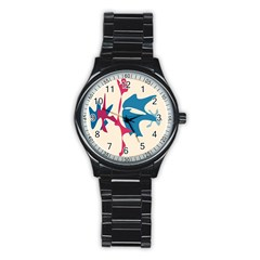 Decorative amoeba abstraction Stainless Steel Round Watch
