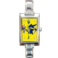 Yellow amoeba abstraction Rectangle Italian Charm Watch