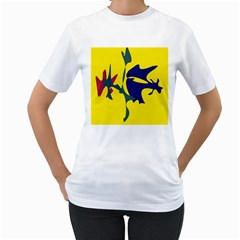 Yellow amoeba abstraction Women s T-Shirt (White) (Two Sided)