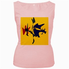Yellow amoeba abstraction Women s Pink Tank Top