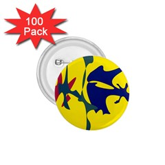 Yellow amoeba abstraction 1.75  Buttons (100 pack)