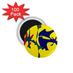 Yellow amoeba abstraction 1.75  Magnets (100 pack)