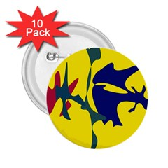 Yellow amoeba abstraction 2.25  Buttons (10 pack)