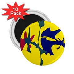 Yellow amoeba abstraction 2.25  Magnets (10 pack)