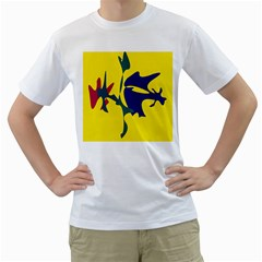 Yellow amoeba abstraction Men s T-Shirt (White) (Two Sided)