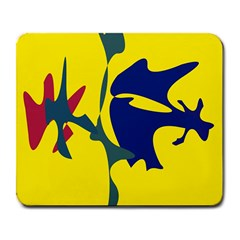 Yellow amoeba abstraction Large Mousepads