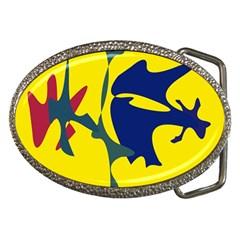 Yellow amoeba abstraction Belt Buckles