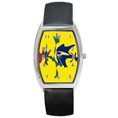 Yellow amoeba abstraction Barrel Style Metal Watch
